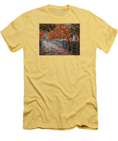 One Lane Bridge Men's T-Shirt (Slim Fit) by Mike Caitham