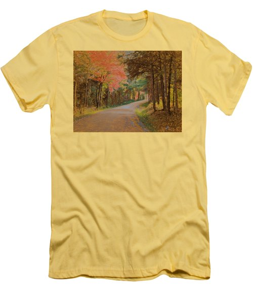 Men's T-Shirt (Slim Fit) featuring the digital art One More Country Road by John Selmer Sr