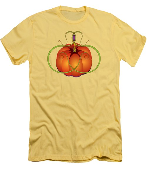 Orange Curvy Autumn Pumpkin Graphic Men's T-Shirt (Athletic Fit)