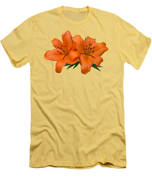 Orange Lily Men's T-Shirt (Slim Fit) by Jane McIlroy