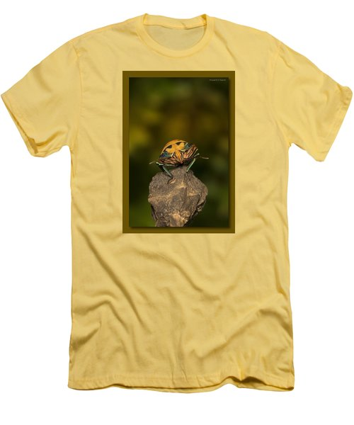Men's T-Shirt (Slim Fit) featuring the photograph Orange Stink Bug 002 by Kevin Chippindall