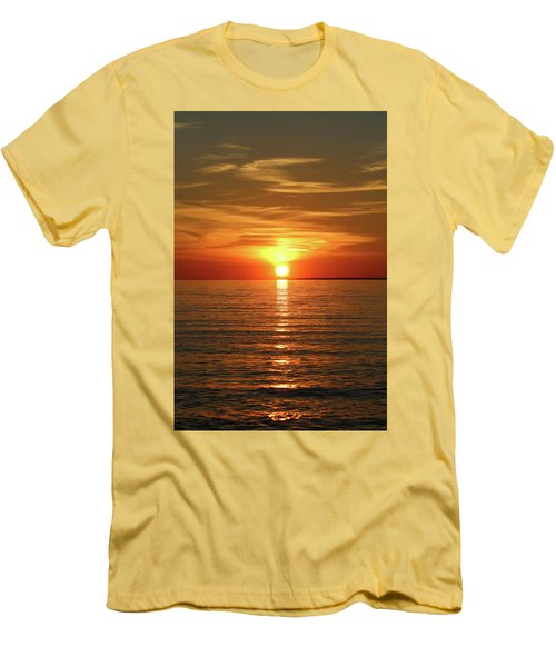 Orange Sunset Lake Superior Men's T-Shirt (Athletic Fit)