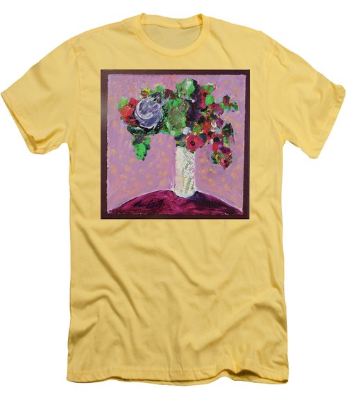 Men's T-Shirt (Slim Fit) featuring the painting Original Bouquetaday Floral Painting 12x12 On Canvas, By Elaine Elliott, 59.00 Incl. Shipping by Elaine Elliott