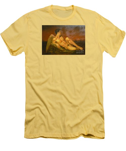 Original Oil Painting Art  Male Nude Of Angel Man On Canvas #11-16-01 Men's T-Shirt (Athletic Fit)