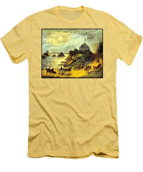 Original San Francisco Cliff House Circa 1865 Men's T-Shirt (Slim Fit) by Peter Gumaer Ogden