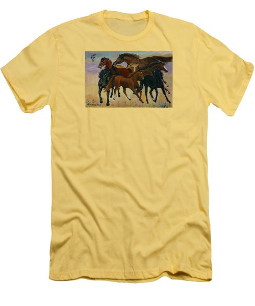 Men's T-Shirt (Slim Fit) featuring the painting Our Horses by Dawn Senior-Trask