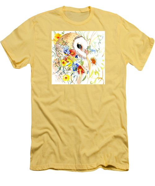 Owl And Flowers Men's T-Shirt (Athletic Fit)