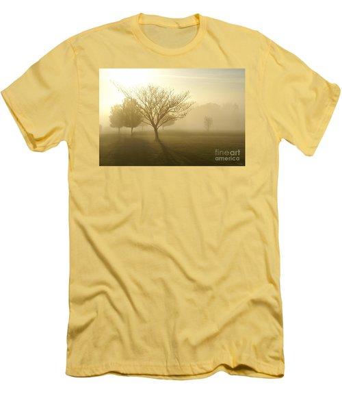Ozarks Misty Golden Morning Sunrise Men's T-Shirt (Slim Fit) by Jennifer White