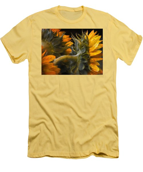Men's T-Shirt (Slim Fit) featuring the photograph Painted Sun Flowers by John Rivera