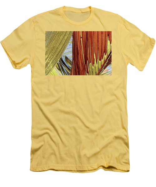 Palm Leaf Abstract Men's T-Shirt (Slim Fit) by Ben and Raisa Gertsberg