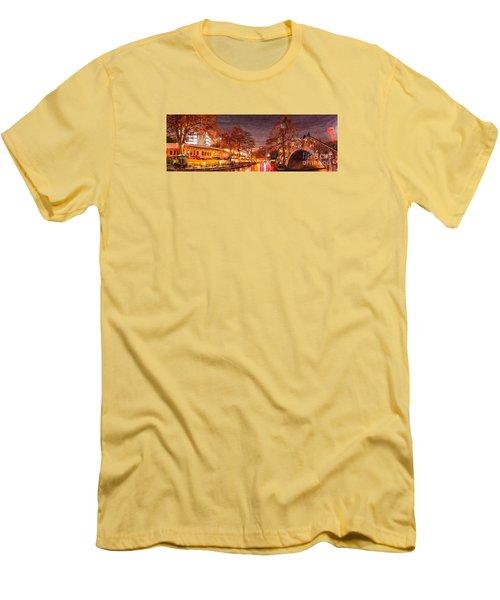 Panorama Of The San Antonio Riverwalk During Christmas - San Antonio Bexar County Texas Men's T-Shirt (Athletic Fit)