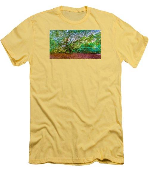 Panoramic Angel Oak Tree Charleston Sc Men's T-Shirt (Slim Fit) by John McGraw