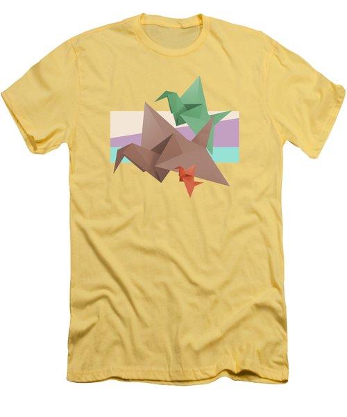 Paper Cranes Men's T-Shirt (Slim Fit) by Absentis Designs