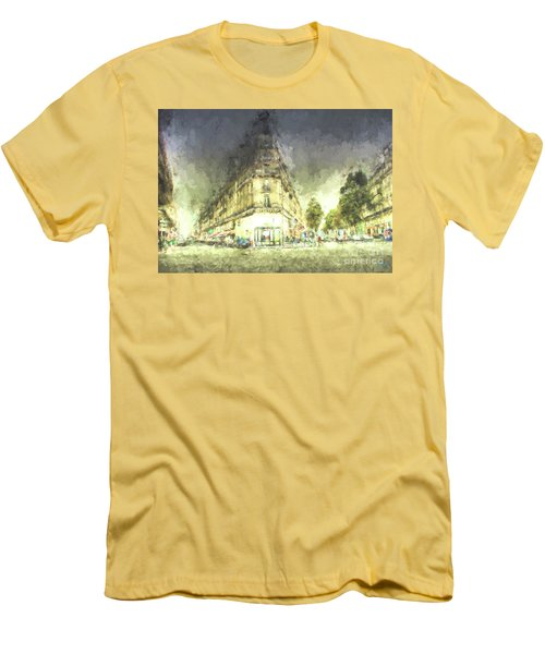 Men's T-Shirt (Slim Fit) featuring the mixed media Paris Streets by Jim  Hatch