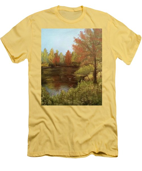 Park In Autumn Men's T-Shirt (Slim Fit) by Angela Stout