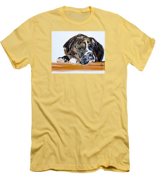 Men's T-Shirt (Slim Fit) featuring the painting Parker  by Jodie Marie Anne Richardson Traugott          aka jm-ART