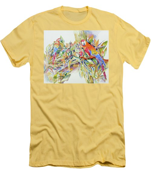 Parrots In Paradise Men's T-Shirt (Slim Fit) by Mary Haley-Rocks