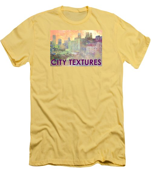 Men's T-Shirt (Slim Fit) featuring the mixed media Pastel City Textures by John Fish