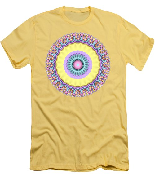 Pastel Peacock Fractal Flower Men's T-Shirt (Athletic Fit)