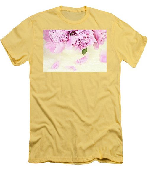 Pastel Pink Peonies  Men's T-Shirt (Athletic Fit)