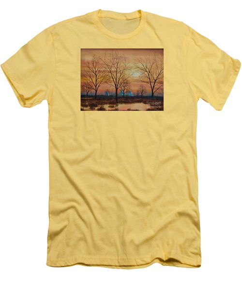 Men's T-Shirt (Slim Fit) featuring the painting Patomac River Sunset by AnnaJo Vahle