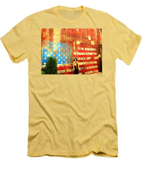 Patriotic Empanadas Wall In New York  Men's T-Shirt (Slim Fit) by Funkpix Photo Hunter