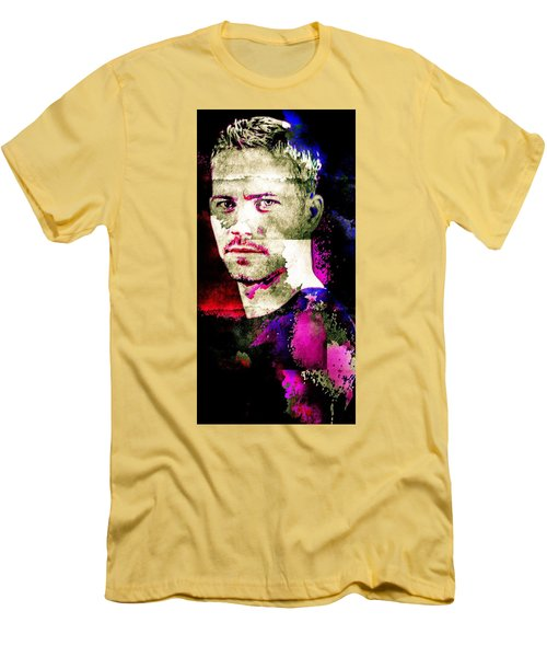 Men's T-Shirt (Slim Fit) featuring the mixed media Paul Walker by Svelby Art