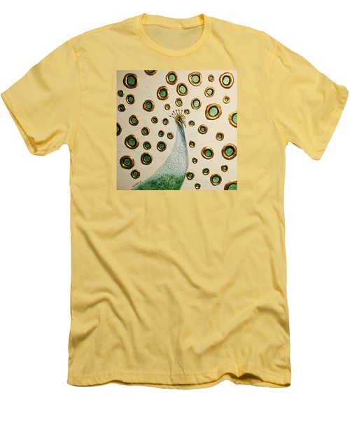 Men's T-Shirt (Slim Fit) featuring the painting Peacock by Edwin Alverio