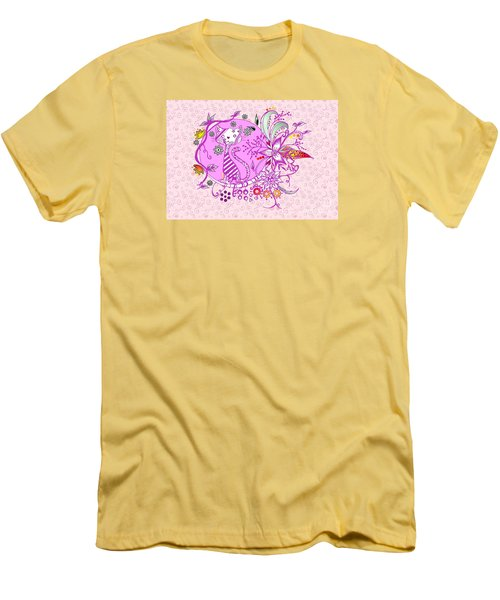 Pen And Ink Colorful Cat Drawing Men's T-Shirt (Athletic Fit)