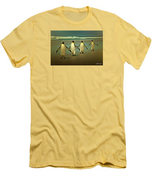 Penguins In The Beach Men's T-Shirt (Athletic Fit)