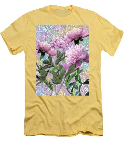 Men's T-Shirt (Slim Fit) featuring the digital art Peonies 6 by John Selmer Sr