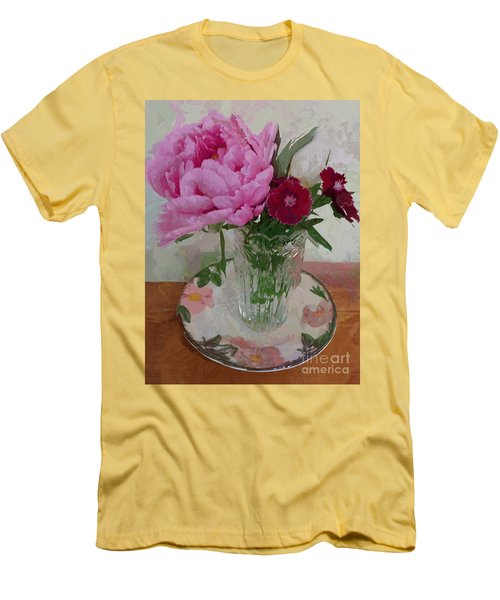 Men's T-Shirt (Slim Fit) featuring the digital art Peonies With Sweet Williams by Alexis Rotella
