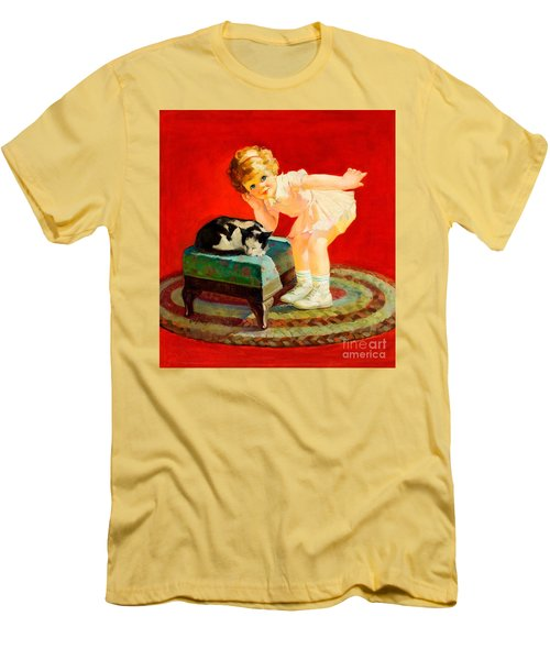 Men's T-Shirt (Athletic Fit) featuring the painting Petting The Cat George Leslie Rapp 1920 by Peter Gumaer Ogden