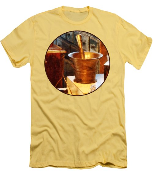 Pharmacist - Brass Mortar And Pestle Men's T-Shirt (Slim Fit) by Susan Savad