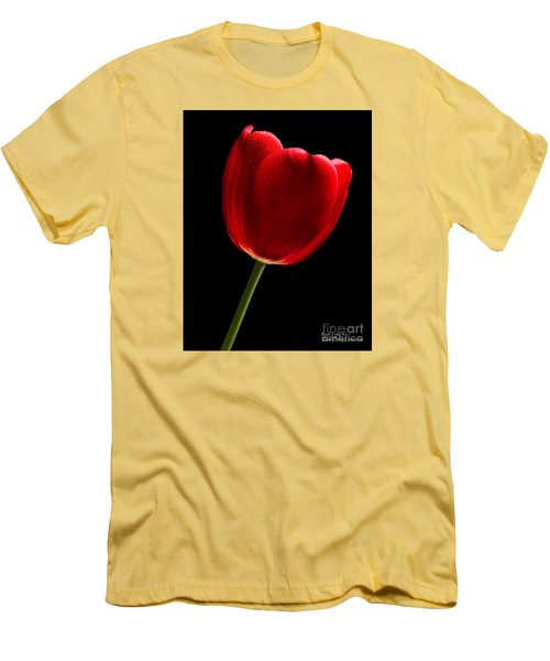 Men's T-Shirt (Athletic Fit) featuring the photograph Photograph Of A Red Tulip On Black I by David Perry Lawrence