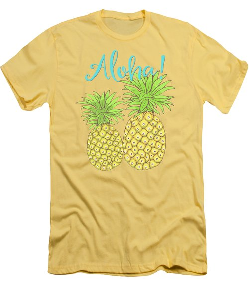 Pineapple Aloha Tropical Fruit Of Welcome Hawaii Men's T-Shirt (Slim Fit) by Tina Lavoie