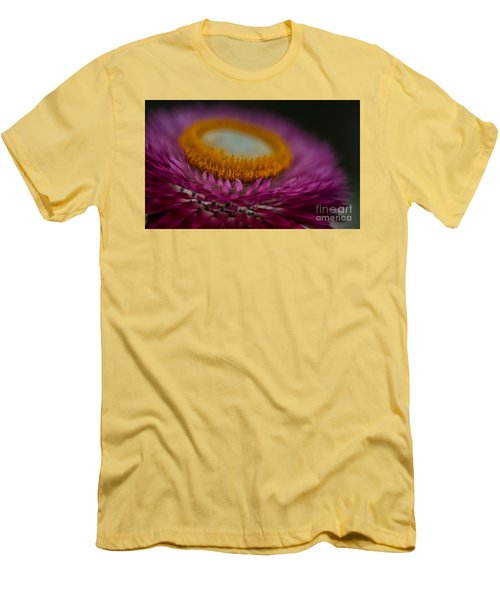 Pink And Yellow Strawflower Close-up Men's T-Shirt (Athletic Fit)