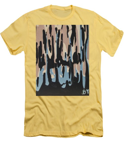 Pink Blue And Brown Drips Men's T-Shirt (Slim Fit) by Barbara Yearty