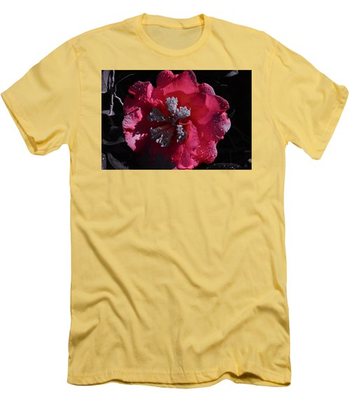 Pink Camillia And Selected Color Men's T-Shirt (Slim Fit) by Warren Thompson