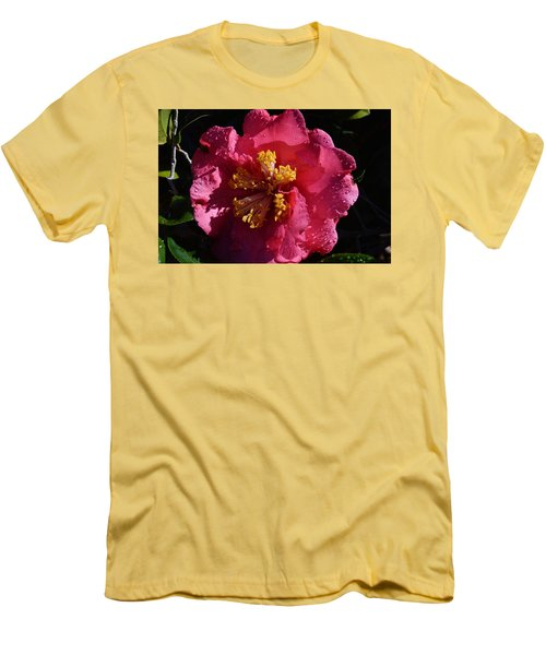 Pink Camillia With Raindrops Men's T-Shirt (Slim Fit) by Warren Thompson
