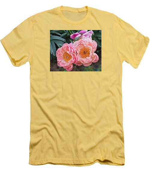Pink Duo Peony Men's T-Shirt (Athletic Fit)