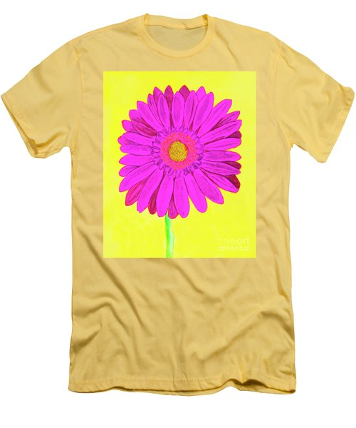 Pink Gerbera On Yellow, Watercolor Men's T-Shirt (Athletic Fit)