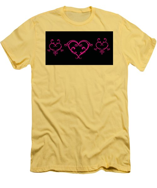 Pink Hearts  Men's T-Shirt (Slim Fit) by Swank Photography