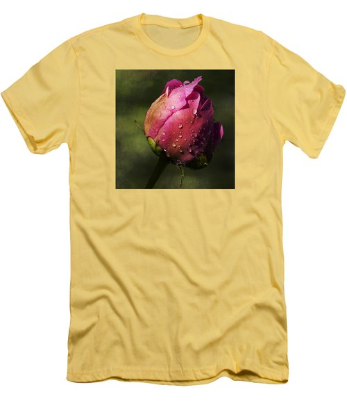 Pink Peony Bud With Dew Drops Men's T-Shirt (Athletic Fit)