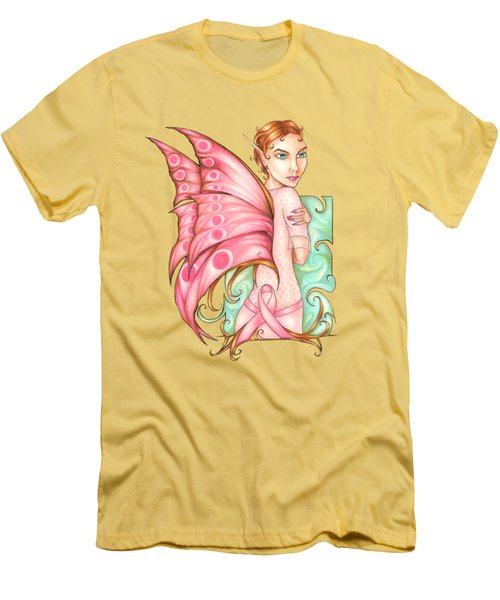 Pink Ribbon Fairy For Breast Cancer Awareness Men's T-Shirt (Athletic Fit)