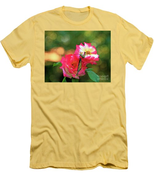 Pink Roses And Butterfly Photo Men's T-Shirt (Slim Fit) by Luana K Perez