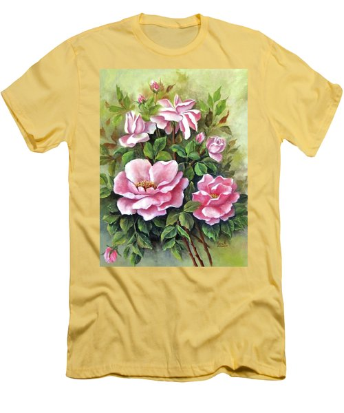 Pink Roses Men's T-Shirt (Slim Fit) by Katia Aho