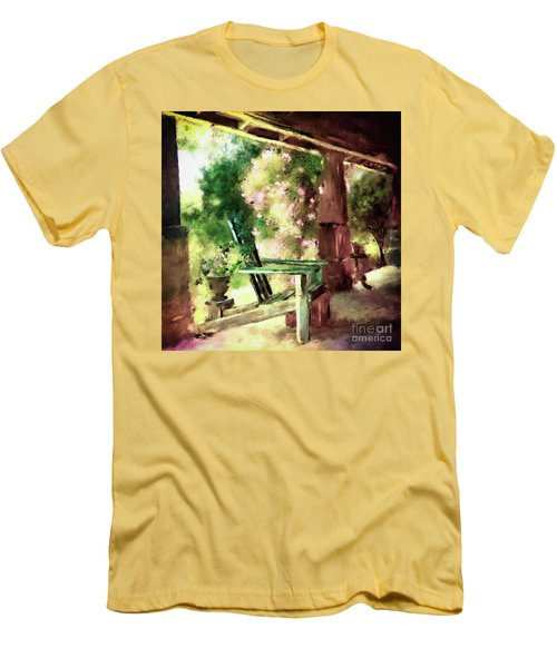 Men's T-Shirt (Athletic Fit) featuring the digital art Pink Roses On The Porch by Lois Bryan
