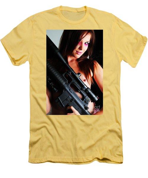 Pink Sniper Men's T-Shirt (Slim Fit) by Robert WK Clark