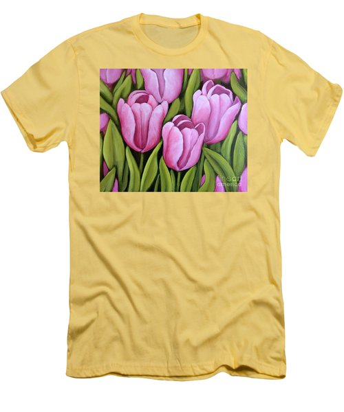 Pink Spring Tulips Men's T-Shirt (Athletic Fit)